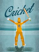 Illustration of Batsman in winning pose on vintage stadium background for Cricket Championship League concept. poster
