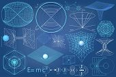 Elements symbols and schemes of physics chemistry and sacred geometry. The science theme. poster