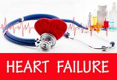 The diagnosis of heart failure. Phonendoscope and vaccine with drugs. Medical concept. poster