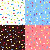 Set of  Colorful Glaze Backgrounds. Vector Seamless Pattern with Sprinkles. Donut Glaze Illustrations. Sweet Food Texture. Random Confetti Bg. poster