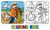 Coloring picture or coloring book of funny captain or sailor, or yachtsman in coat, at the helm. Profession series. Children vector illustration. poster