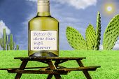 Better be alone than with whoever - this quote belongs to Omar Khayyam is written on the bottle standing on the empty table on the green grass under the blue sky with white clouds. poster