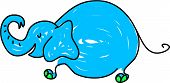 a cute blue elephant isolated on white drawn in toddler art style poster