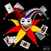 Joker head with playing cards isolated on black. Three Dimensional stylized drawing. Vector illustration poster