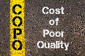 Concept image of Business Acronym COPQ Cost Of Poor Quality written over road marking yellow paint line poster