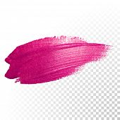 Vector pink watercolor brush stroke. Varnish splash line trace. Abstract shape oil paint smear on transparent background. poster