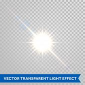 Vector magic sunlight glare effect. Sunshine sparks with lens flare radiant light. Bright glowing light flash isolated on transparent background poster