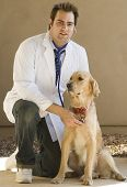handsome young vet with lab coat and stethoscope with golden retriever poster