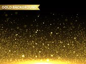 Vector gold glitter particles background effect  for luxury greeting rich card. Sparkling texture. Star dust sparks in explosion on black background. poster