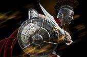 Spartan charge ,Spartan warrior in Battle dress attacking . Photo realistic 3d model scene. poster