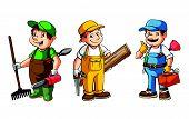 Worker Set : Gardener,Carpenter And Plumber Editable .Eps 10 Vector Illustration Design poster