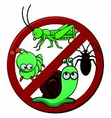 anti pest cartoon illustration isolated white Editable .Eps 10 Vector Illustration Design poster