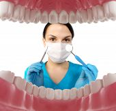 Dentist with tools. Concept of dentistry, whitening, oral hygiene, teeth cleaning with toothbrush, floss. Dentistry, taking care of a beautiful and healthy smile. Dental tooth care clinic. Stomatology poster