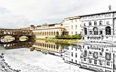 From sketch to the Florence city - Beautiful Ponte Vecchio Vasari Corridor and Uffizi Gallery are mirrored in the river Arno. Tuscany Italy. Past and present. Travel destination. poster