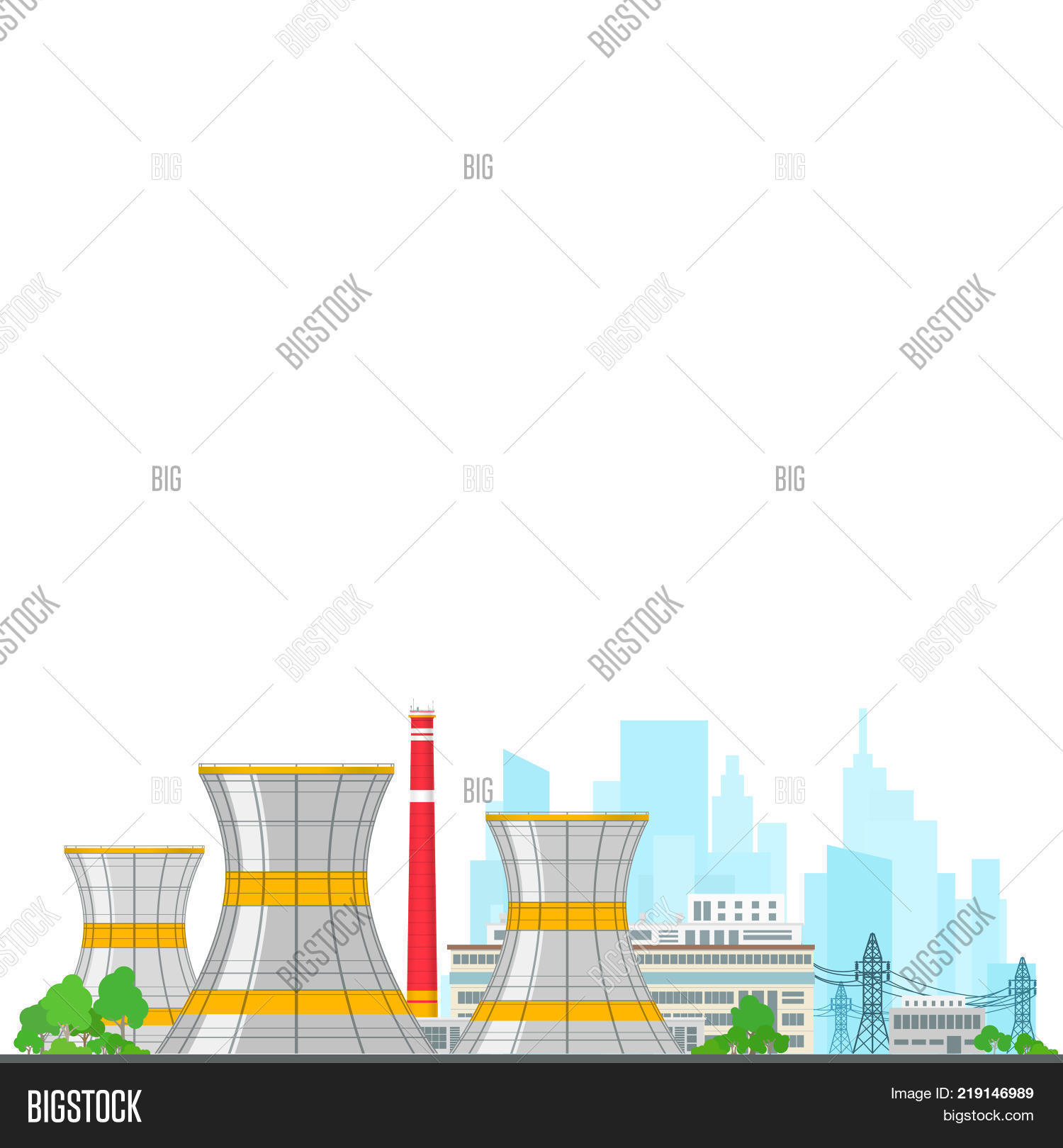 Nuclear power plant on image photo free trial bigstock nuclear power plant on white background thermal power station and text nuclear reactor and power lines ccuart Choice Image