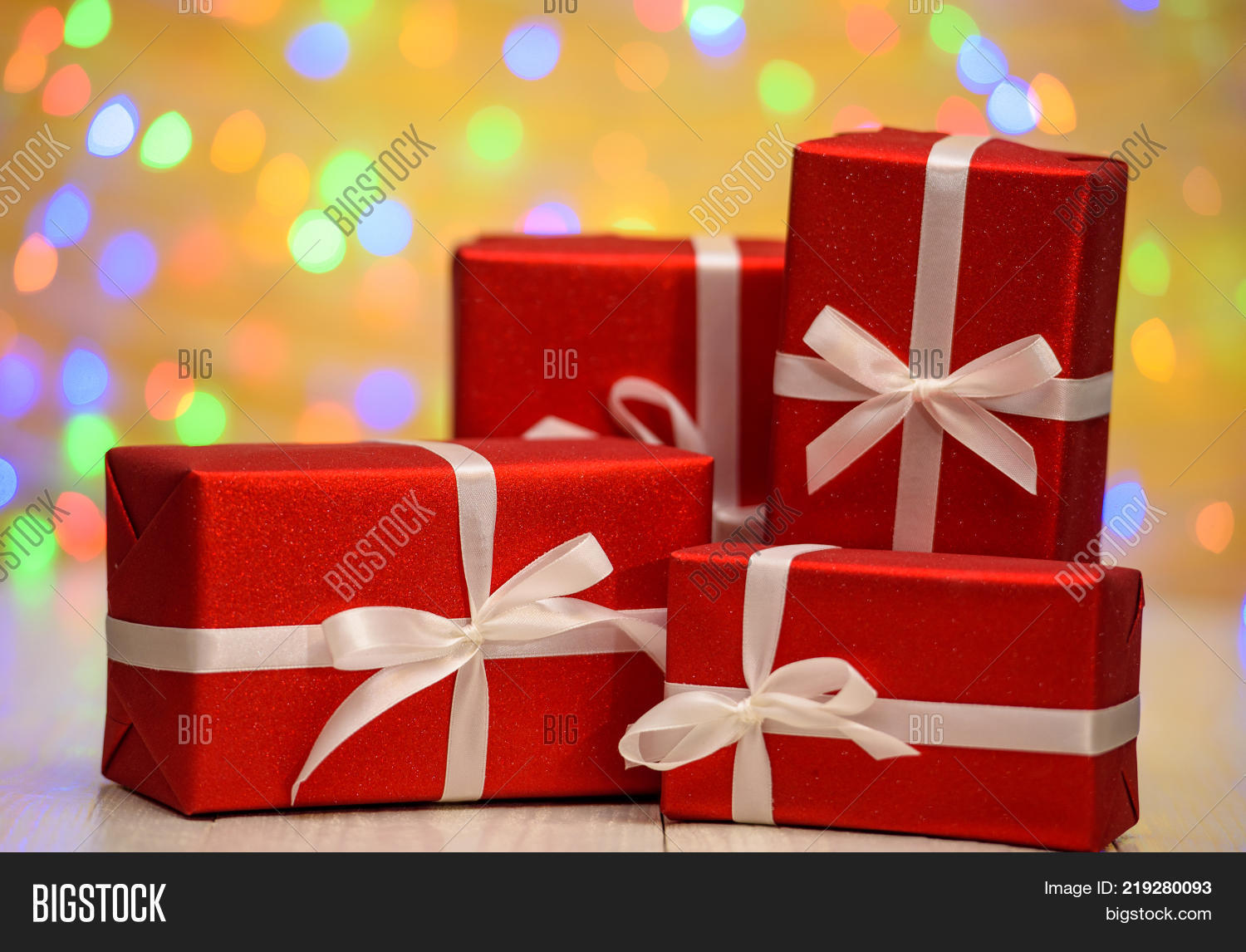 Red Gift Boxes Ribbon Image Photo Free Trial Bigstock