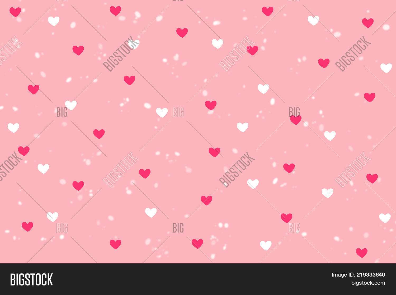 Pink And White Heart Shape With Snowfall Background Lovely On Sweet Wallpaper