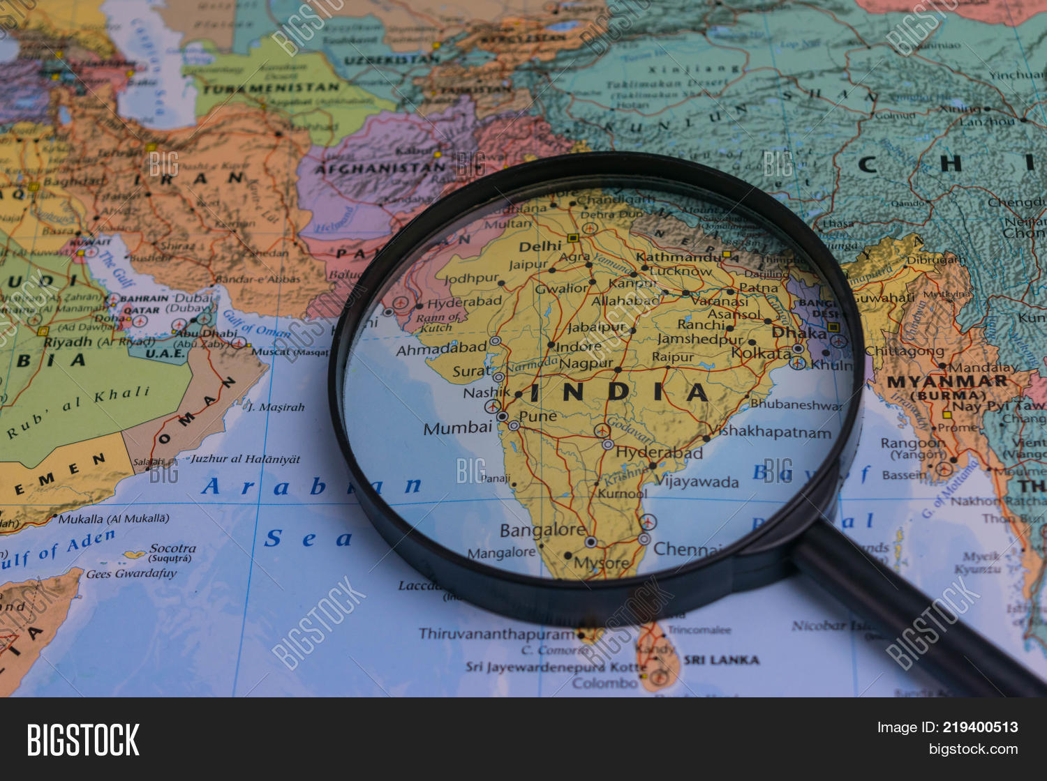 India map through image photo free trial bigstock india map through magnifying glass on a world map gumiabroncs Image collections