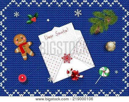 Christmas greeting card, decor, candies, gingerbread man, fir tree, holy, bubble. Top view with space for your xmas wishes. Vector illustration, template with space for text and head line dear santa.