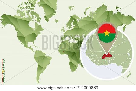 Infographic for Burkina Faso detailed map of Burkina Faso with flag. Vector Info graphic green map.