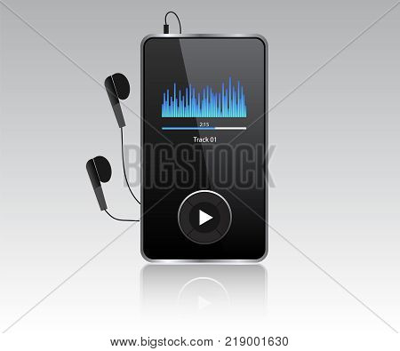 Mp3 player vector realistic with headphones.Realistic icon