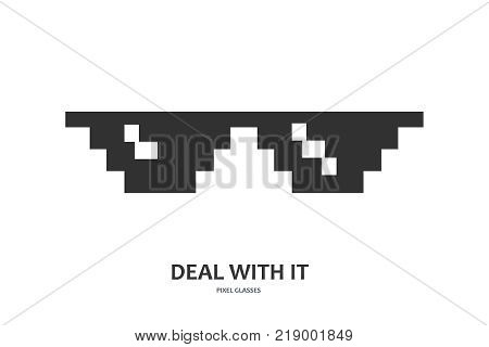 Pixel glasses vector icon. Deal with it. Mem glasses icon