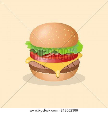 Hamburger - cute cartoon colored picture. Graphic design elements for menu, packaging, advertising, poster, brochure. Vector illustration of fast food for bistro, snackbar, cafe or restaurant
