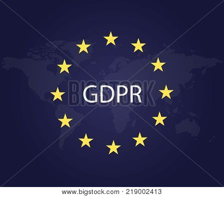 GDPR. General Data Protection Regulation symbol. Star