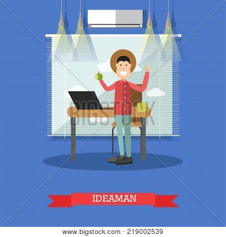Vector illustration of happy male coming up with new idea. Man standing with arms raised and pointing finger hand sign. Idea man, creative team member flat style design element.
