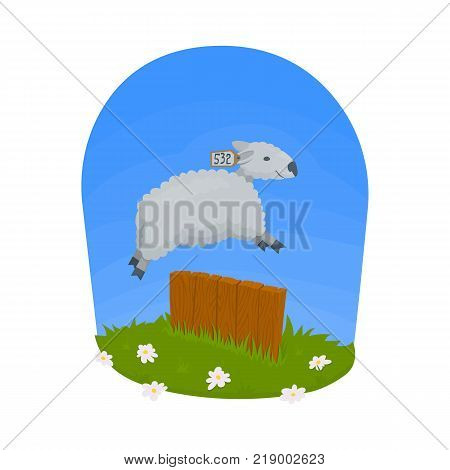 Jumping over the fence. Counting the sheep to fall asleep. Vector illustration