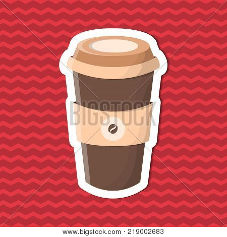 Sticker of coffee to go on red striped background. Graphic design elements for menu, poster, brochure. Vector illustration of fast food for bistro, snackbar, cafe or restaurant.