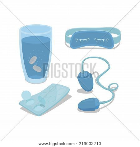 Vector set of icons for sleeping. Mask, earplugs, sleeping pills in the water, a blister with pills. Cartoon illustration