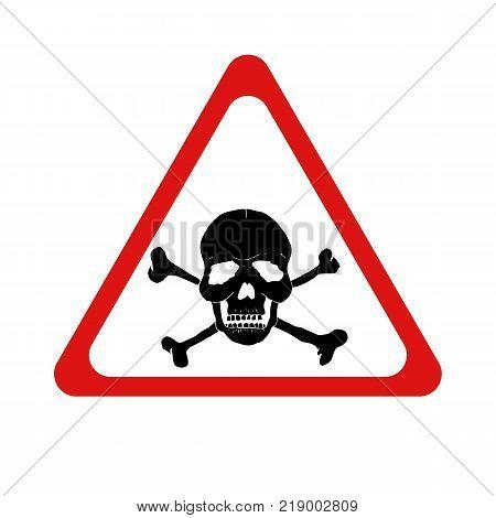 Vector danger sign with skull and crossbones. Vector illustration.