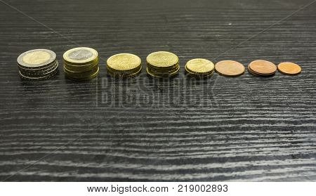 Euro coins arranged in bars in various denominations on the table.