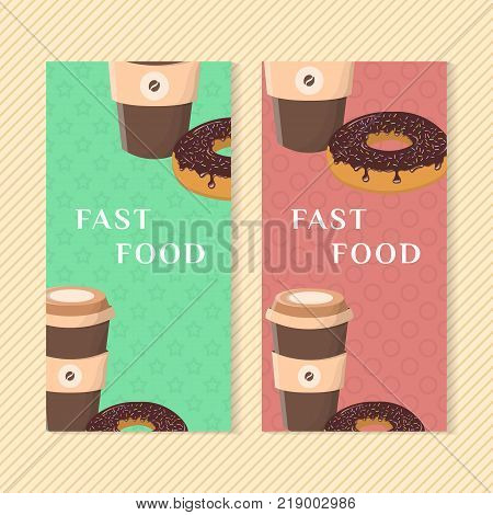 Fast food banners with donut and coffee. Graphic design elements for menu packaging, apps, advertising, poster, brochure and background. Vector illustration for bistro, snackbar, cafe or restaurant