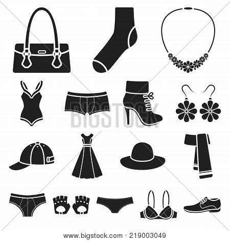 Clothes and accessories black icons in set collection for design. Shoes and decoration vector symbol stock web illustration.