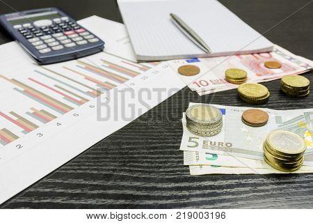 Financier's job. Report on earnings in euro currency.