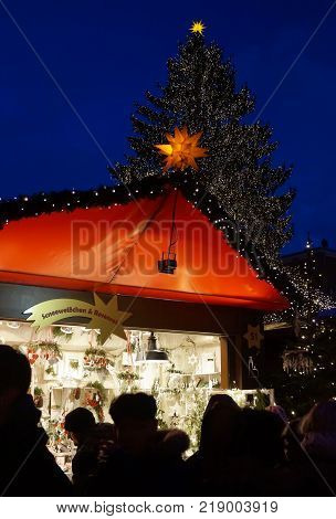 cologne germany december 16 2017 german christmas market at night shoppers