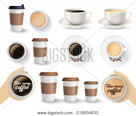 Set of to go and takeaway paper coffee cups in different sizes and coffee cups on saucers. Objects isolated on the white background.