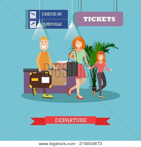 Vector illustration of travelling family father, mother and daughter at airport terminal. Departure concept flat style design element.