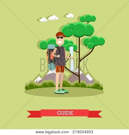 Vector illustration of traveler male with backpack and map. Tour guide flat style design element.