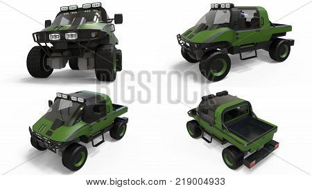 Set special all-terrain vehicle for difficult terrain and difficult road and weather conditions. 3d rendering