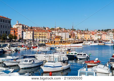 Beautiful medieval town of Rovinj colorful with houses and harborboats in CroatiaEurope