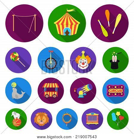 Circus and attributes flat icons in set collection for design. Circus Art vector symbol stock  illustration.