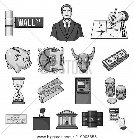 Money and Finance monochrome icons in set collection for design. Business and Success vector symbol stock  illustration.