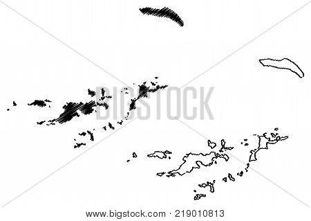 British Virgin Islands map vector illustration , scribble sketch British Virgin Islands