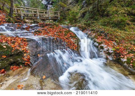 Creek beside hiking trail in the National Park Fatra Slovakia central Europe.