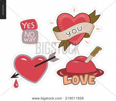 Set of contemporary girlie Love letter logo. A set of vector patches, logo and letter composition. Yes, No Way, Hearts with a ribbon, a knife and pierced with an arrow with dropping blood. Vector stickers kit.