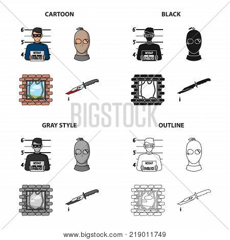 Photo of the criminal, a bandit in a mask, jailbreak, bloody knife. A crime set collection icons in cartoon black monochrome outline style vector symbol stock illustration .