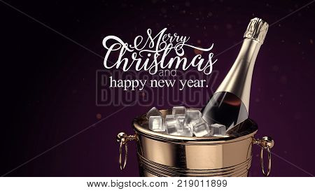 Champagne on ice bucket with Merry Christmas and Happy new Year. 3d rendering and illustration.